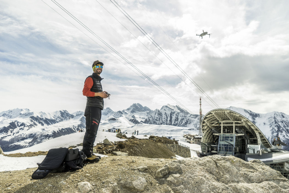 Drone operator getting brilliant aerial shots of The Alps